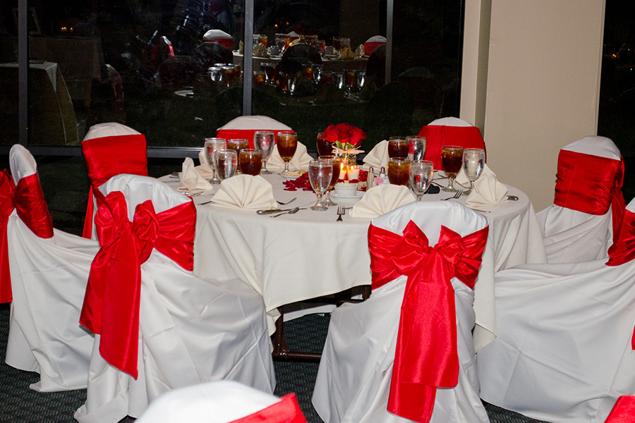 Red and White Wedding reception tables